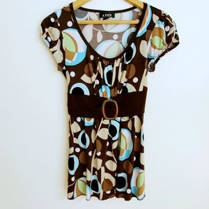 ❤ Free ❤A.Byer   Retro 70's Deep V Blouse with Tie